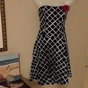 Ruby Rox Black w/White Checkerboard Dress  Sz7